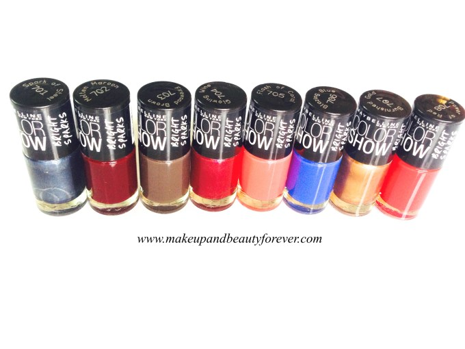 Maybelline Color Show Bright Sparks Nail Color Shades Available in India Blazing Blue Burnished Gold Firewood Brown Flash Of Coral Glowing Wine Molten Maroon Power of Red Spark of Steel