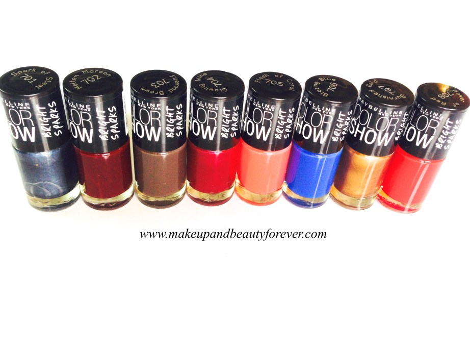 Maybelline color show bright sparks nail color shades swatch Blazing Blue Burnished Gold Firewood Brown  Flash Of Coral  Glowing Wine  Molten Maroon  Power of Red  Spark of Steel