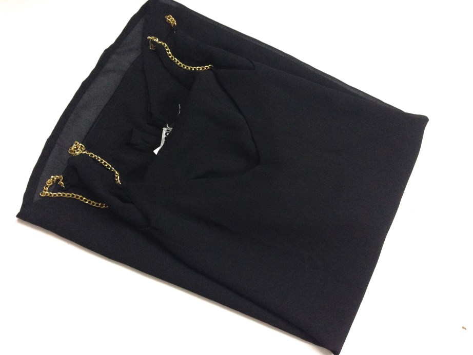 Black fancy party wear top with chain straps