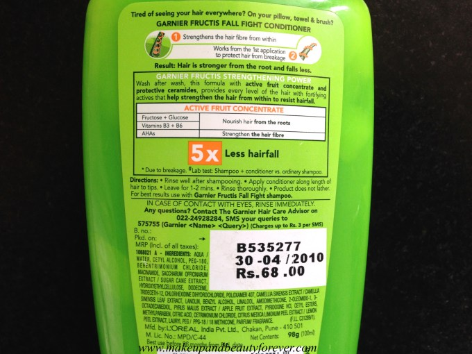 Garnier Fructis Fall Fight Anti Hair Fall Fortifying Conditioner Review India