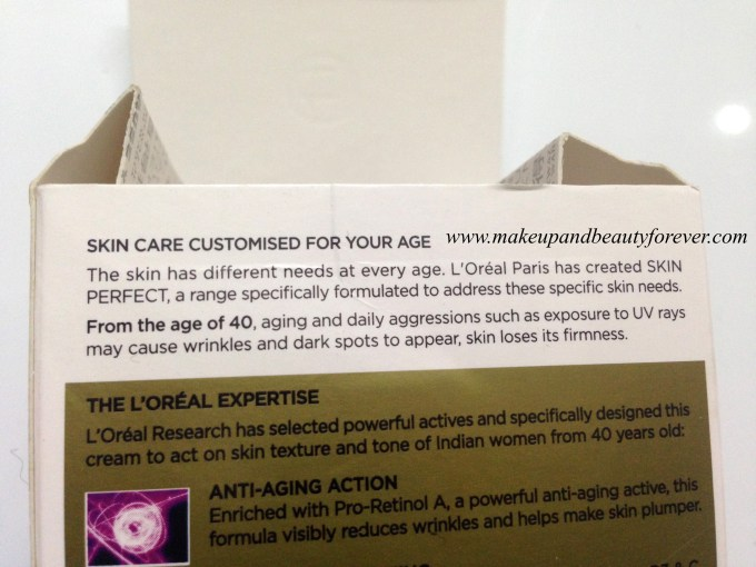 L'Oreal Paris Skin Perfect Anti-Aging + Whitening Cream For Age 40+ Review India