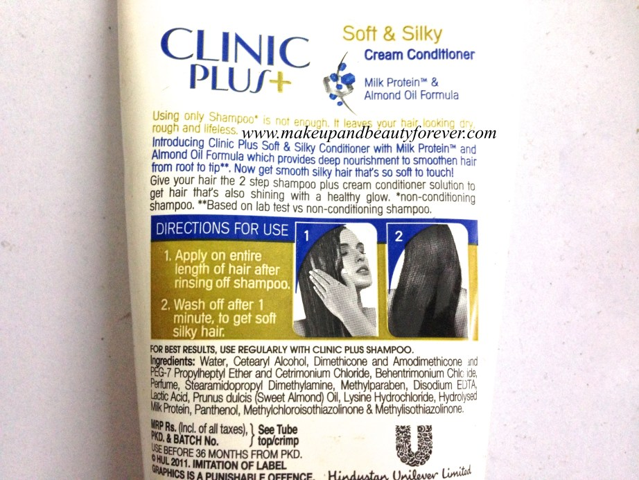 Clinic Plus Soft And Silky Cream Conditioner Review ingredients