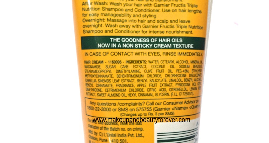 Garnier Fructis Triple Nutrition Oil-In-Cream ingredients