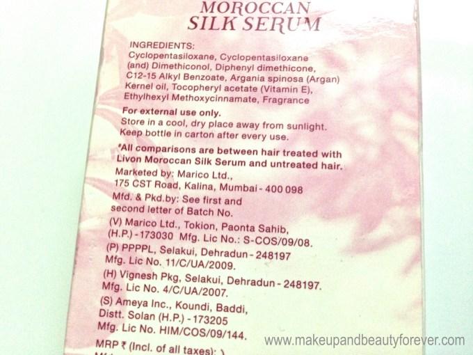 Livon Moroccan Silk Serum ingredients