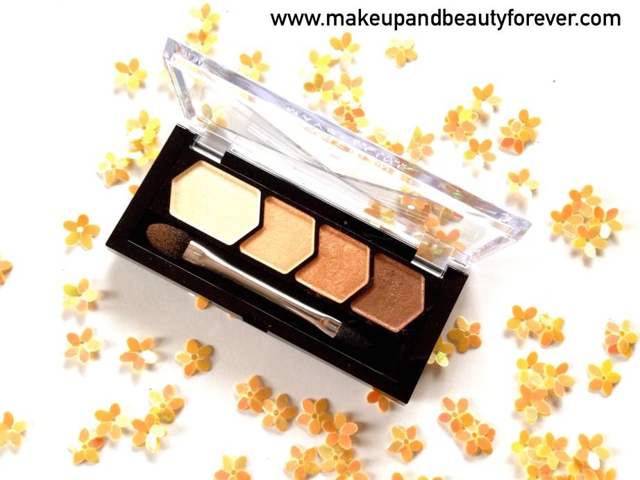 Maybelline Eyestudio Diamond Glow Eye Shadow Quad 01 Copper Brown Review Swatch Details