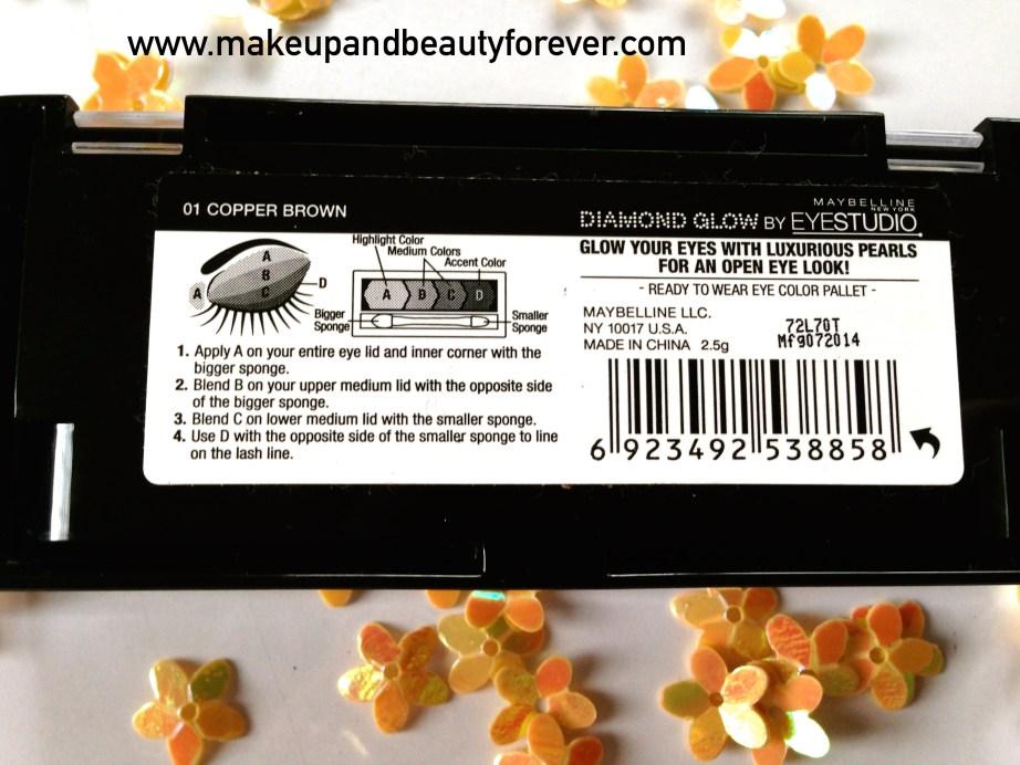 Maybelline Eyestudio Diamond Glow Eye Shadow Quad 01 Copper Brown Review Swatches Price Detail