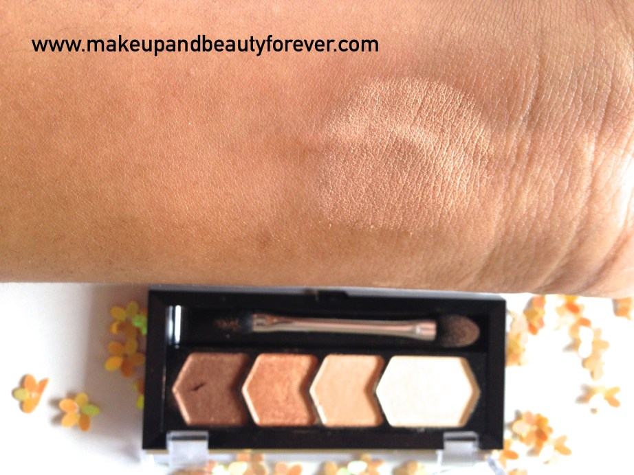 Maybelline Eyestudio Diamond Glow Eye Shadow Quad 01 Copper Brown Review Swatches Price MBF