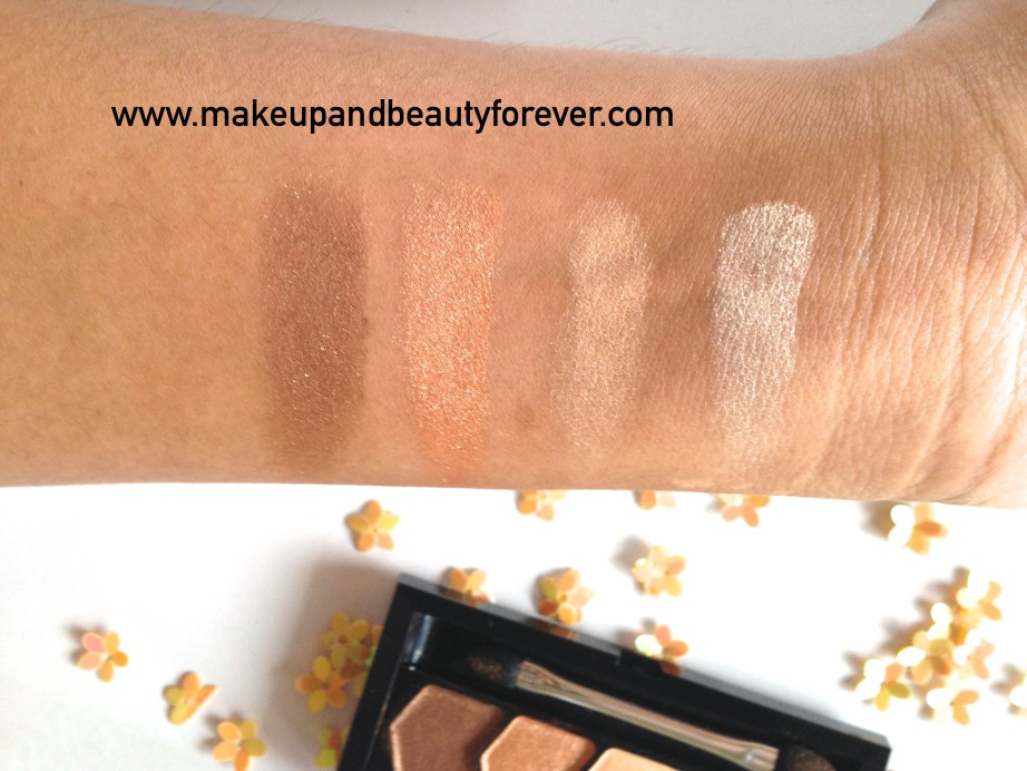 Maybelline Eyestudio Diamond Glow Eye Shadow Quad 01 Copper Brown Review Swatches