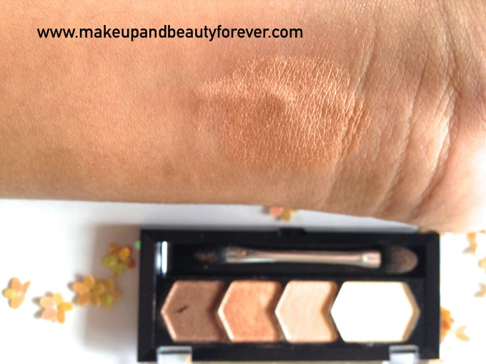 Maybelline Eyestudio Diamond Glow Eye Shadow Quad 01 Copper Brown Swatches MBF