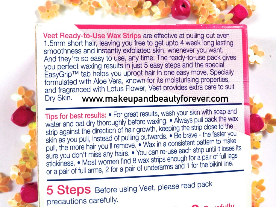 Veet Easy Grip Ready-to-Use Wax Strips Full Body Waxing Kit for Dry Skin with Aloe vera and lotus flower tips