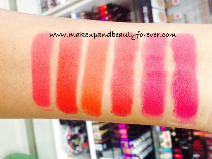 All Lakme Absolute Lip Pout Matte Lipstick Review Shades Swatches Victorian Rose Starlet Red Tangerine Touch Raving Red Pink Fantasy Magenta Magic