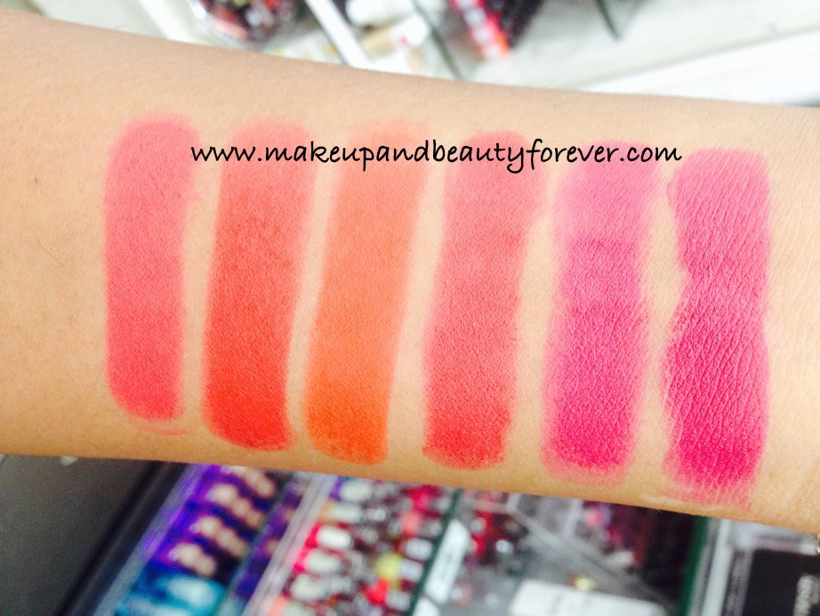 All Lakme Absolute Lip Pout Review Shades Swatches Victorian Rose Starlet Red Tangerine Touch Raving Red Pink Fantasy Magenta Magic