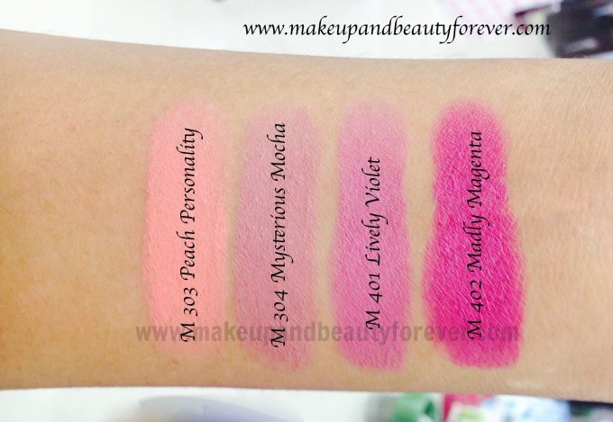 All Maybelline Color Show Matte Lipstick Review Shades Swatches Price India M303 Peach Personality M304 Mysterious Mocha M401 Lively Violet M402 Madly Magenta Best