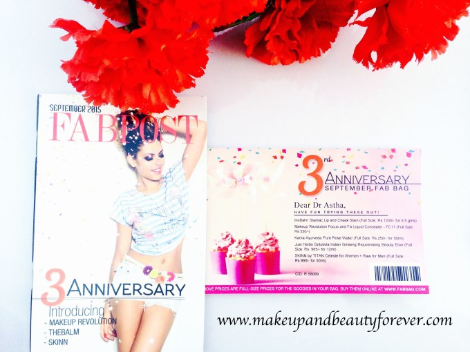 Fab Bag September 2015 3rd Anniversary Special India