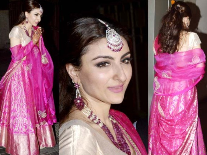 Soha Ali Khan Lehenga Sanjay Garg at Wedding reception