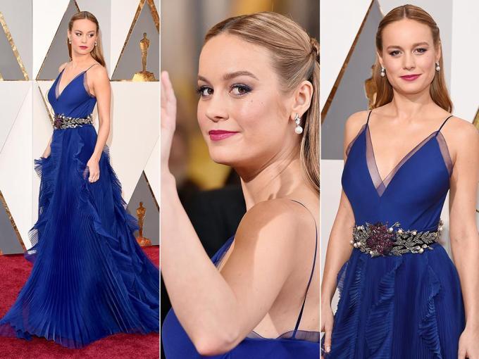 Brie Larson Best Actress oscars 2016 blue custom Gucci dress