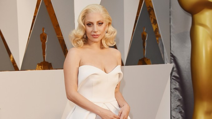 Lady Gaga Oscars 2016 Brandon Maxwell dress jewellery