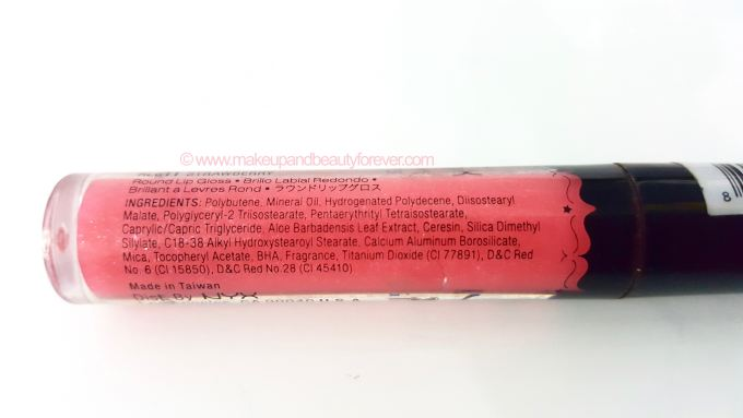 NYX Girls Round Lip Gloss Strawberry Review Swatches Ingredients