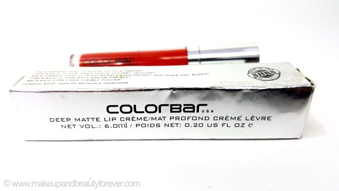 Colorbar USA Deep Matte Lip Crème Deep Red 001 Review