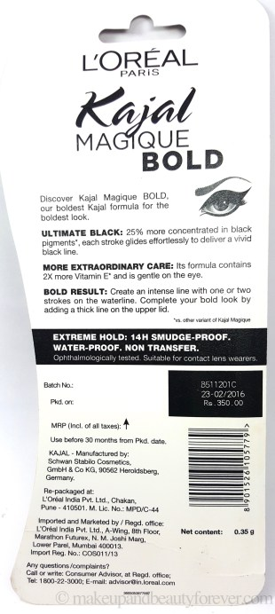 L'Oreal Paris Kajal Magique Bold Review Swatches Price