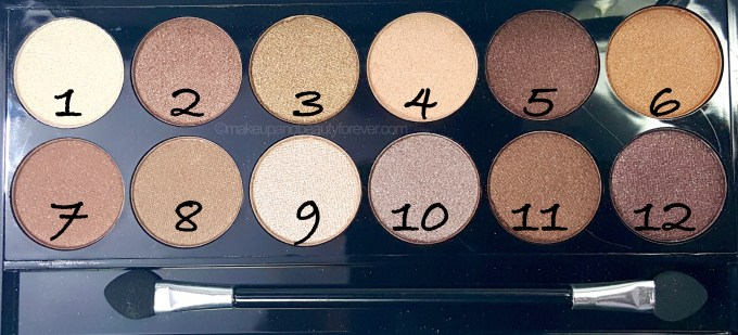 MUA Heaven and Earth Palette Review Swatches shade numbers