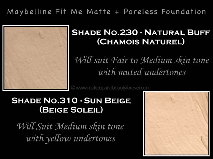 Maybelline Fit Me Matte Natural Buff Sun Beige Poreless Foundation Review Shades Swatches