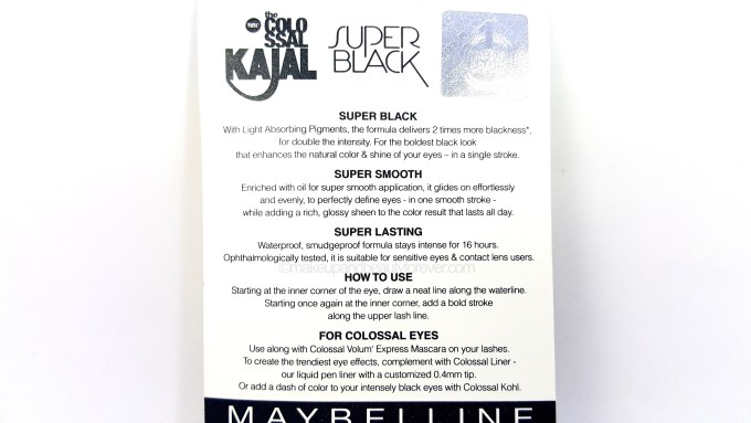 Maybelline Super Black Colossal Kajal Review details price