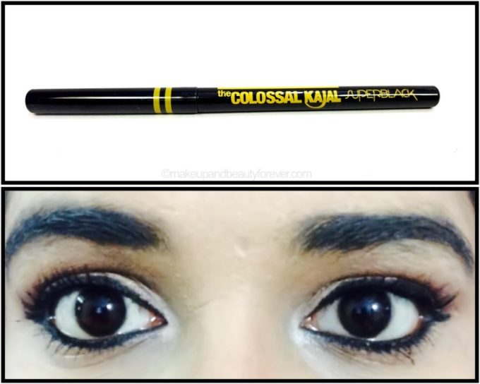 Maybelline Super Black Colossal Kajal Review swatch on eyes