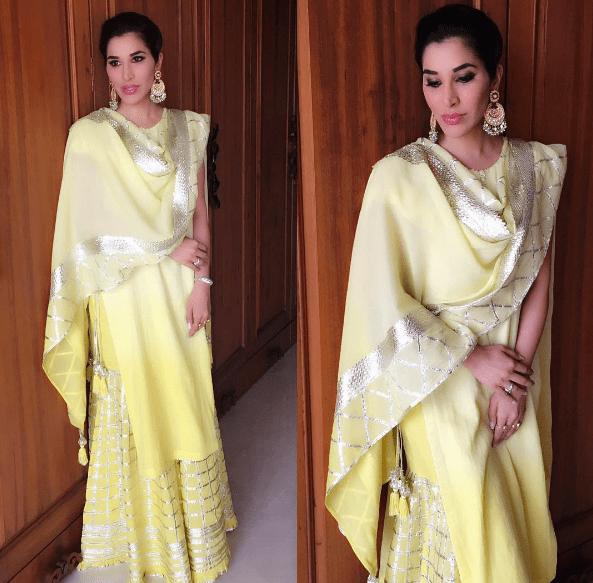 Sophie Chodhary dress outfit Bipasha Basu Karan Singh Grover Mehendi Ceremony