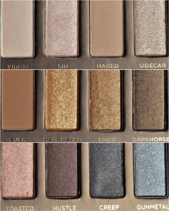 Urban Decay Naked 1 original palette shade names with photos close up