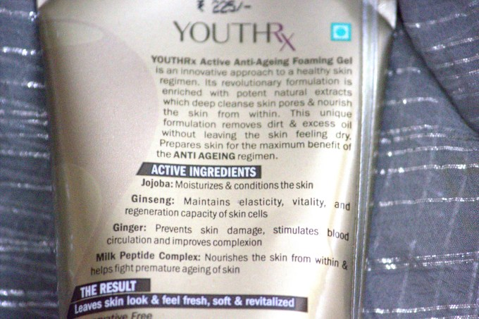 Lotus Herbals YOUTHRx Active Anti Ageing Foaming Gel Review ingredients