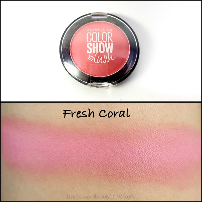 Maybelline Color Show Blush Fresh Coral Review Swatches