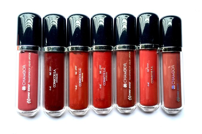 All Chambor Extreme Wear Transfer Proof Liquid Lipstick Shades Swatches Review