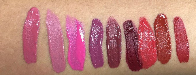 All Chambor Liquid Lipstick swatches Rosemantic 401 Effortless Pink 402 Diva 403 Fall in Rose 404 Trendy Mauve 405 Nocturne 406 Fiery Red 431 Red Haute 432 Desire 433