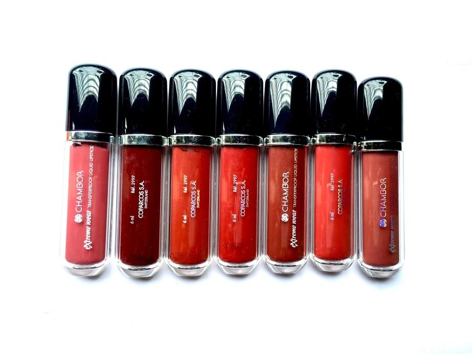 All Chambor extreme Liquid Lipstick Shades Swatches
