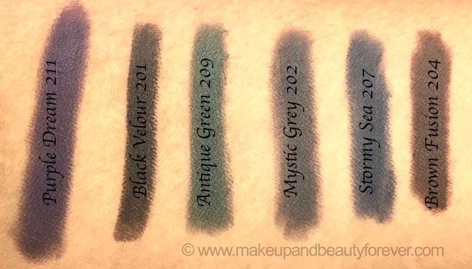 All L'Oreal Color Riche Le Smoky Eyeliner Smudger 6 Shades Review Swatches Purple dream Black Velour Antique Green Mystic Grey Stormy Sea Brown Fusion
