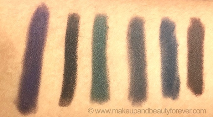 All L'Oreal Paris Color Riche Le Smoky Eyeliner with Smudger 6 Shades Review Swatches Purple dream Black Velour Antique Green Mystic Grey Stormy Sea Brown Fusion