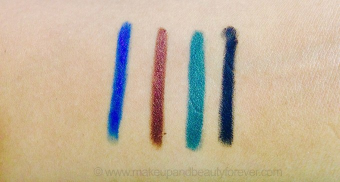 All Lakme Absolute Precision Artist Eye Liners and Kajal Shades Review Swatches Blue Sapphire burnished brown emerald green ebony black