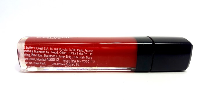 L'Oreal Infallible Mega Gloss 106 Alerte Rouge Review details Swatches