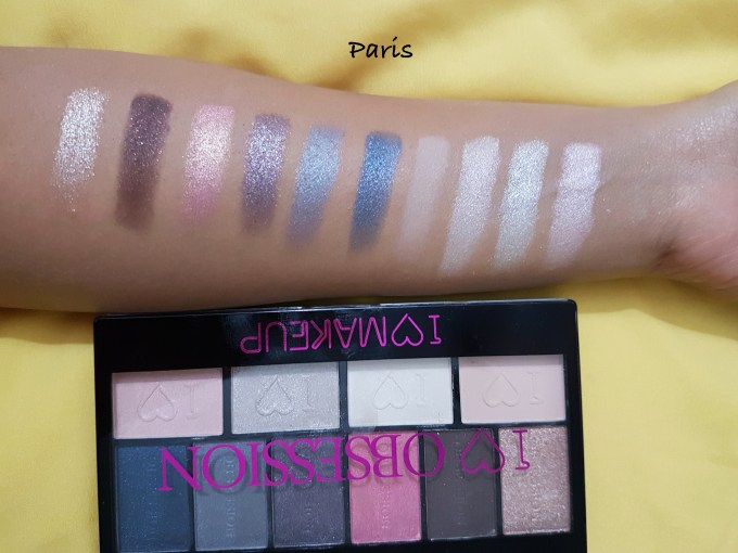 Makeup Revolution I ♡ MAKEUP I ♡ OBSESSION EyeShadow Palettes - Paris shades Review Swatches