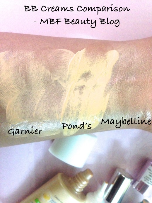 Maybelline Ponds Garnier BB Creams Review swatches vs Comparison