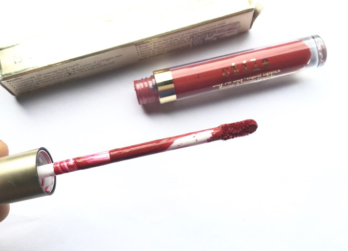 Stila Stay All Day Liquid Lipstick Fiery Review Swatches applicator wand