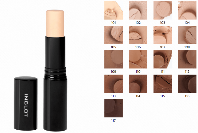 All Inglot Stick Foundation Shades Review Swatches 101 102 103 104 105 106 107 108 109 110 111 112 113 114 115 116 117 mbf