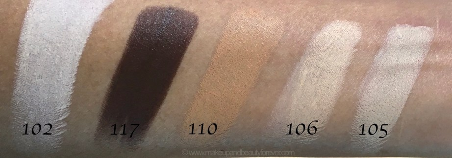 All Inglot Stick Foundation Shades Review Swatches 102 117 110 106 105