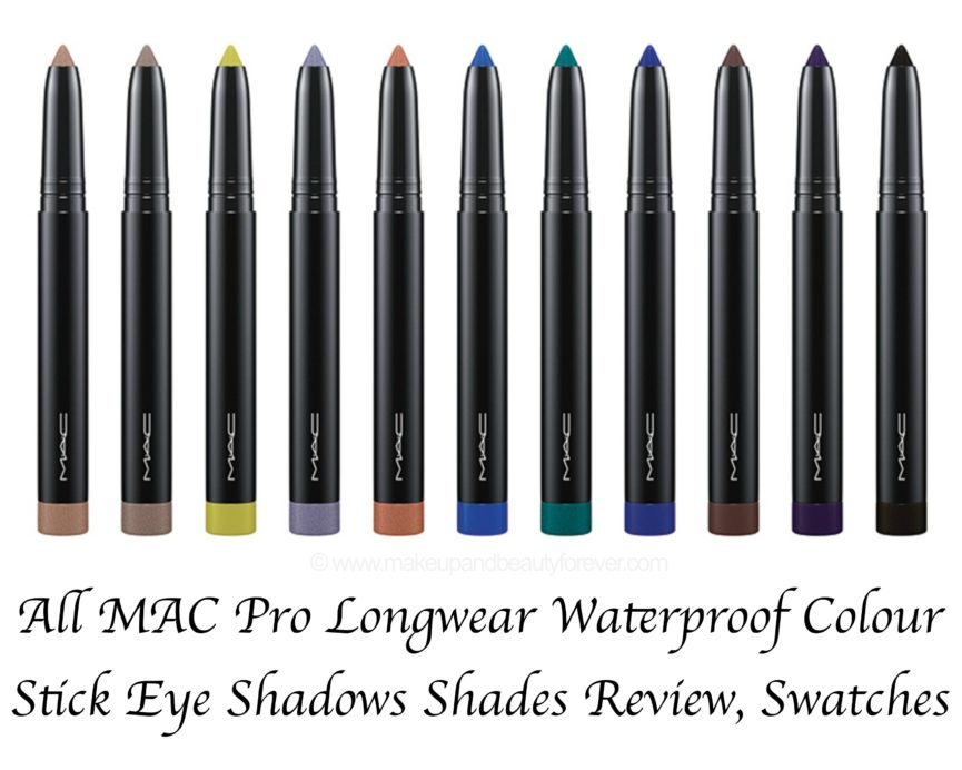 All MAC Pro Longwear Waterproof Colour Stick Eye Shadows Shades Swatches Beach Bitter Clove Bleached Beige Cinder Black Copperpot Cremefilled Evergreen White Frisky Blue Iris Eyes