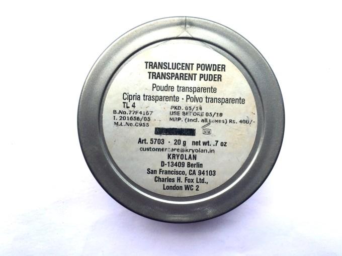 Kryolan Translucent Loose Powder Review Swatches details