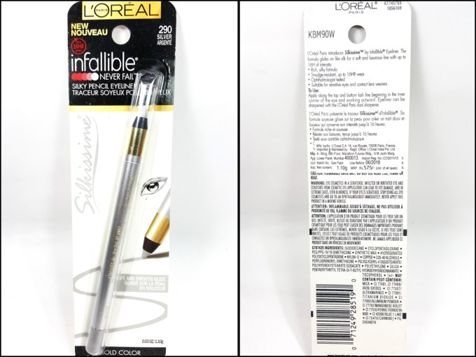 L'Oreal Infallible Silkissime Eyeliner Silver Argente Review Swatches mbf blog