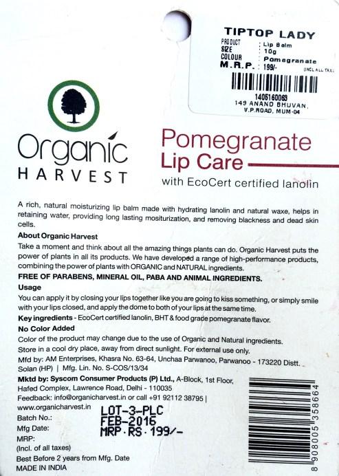 Organic Harvest Pomegranate Lip Care Balm Review mbf