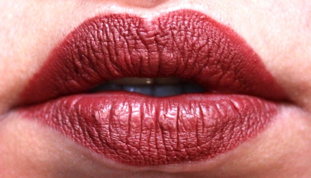 Dose of Colors Matte Liquid Lipstick Brick Review Swatches freshly applied on lips