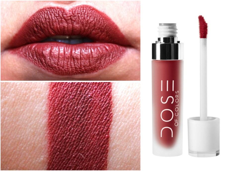 Dose of Colors Matte Liquid Lipstick Brick Review Swatches